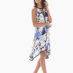 ADRIANNA PAPELL  Handkerchief Hem Dress Multi Blue